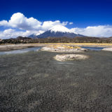 The Lagunas Cotacotani, with Parinacota and Pomerape in the background