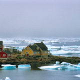 The village of Kulusuk with icebergs
