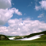 Snow and green hills