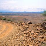 View over barren landscape