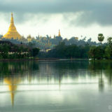 The Shwedagon Pagoda and kandawgyi lake