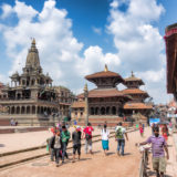 People walking on Patan Square