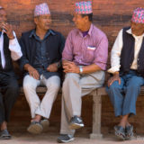 Nepalese men chatting on Patan Square