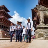 Students walking on Patan Square