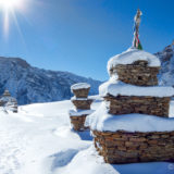 Stupas in the snow