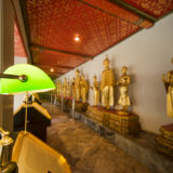 Desk light and Budda statues
