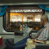 Old man in train