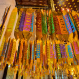 Golden prayer flags