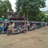 Tuktuks in a row at a temple