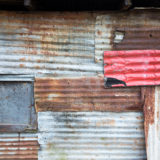 Colorful wall of corrugated iron